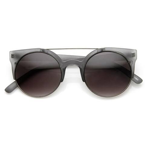Retro Circle Round Half Frame Aviator Bar Sunglasses