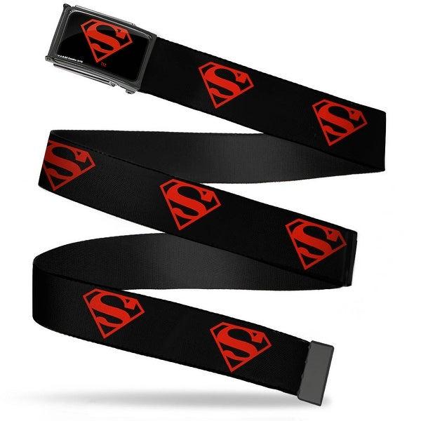 Superboy Shield Fcg Black Red Chrome Superboy Shield Black Red Webbing Web Belt