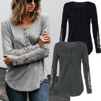 Lace Sleeve Henley Shirt