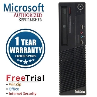 Refurbished Lenovo ThinkCentre M73 SFF Intel Core I3 4130 3.4G 8G DDR3 320G DVD Win 10 Pro 1 Year Warranty - Black