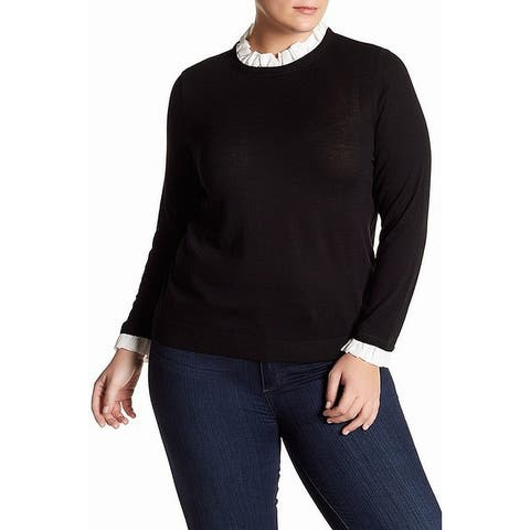 14th & Union Women's Black Size 2X Plus Ruffle Turtleneck Mock Sweater