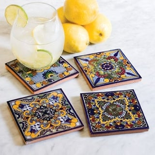 Native Trails TVCB21 Moroccan Midnight Hand Painted Tile Coasters (Set of 4)