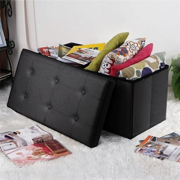 Porch & Den Shadypeak Black PVC Leather Rectangular Footstool. Opens flyout.