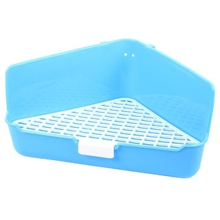 Blue White Plastic 35cm x 22cm x 17.5cm Triangle Mesh Design Dog Cat Pet Toilet