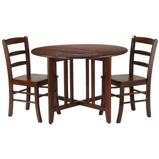 Alamo Round Drop Leaf Table with 2 Ladder Back Chairs - 3 Piece
