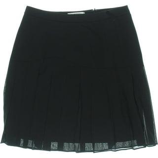 Kasper Womens Petites Sheer Pleated A-Line Skirt