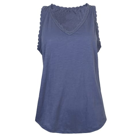 Victory Outfitters Ladies' Slub Knit Cotton Blend Ruffle Lace Hem Sleeveless V-Neck Top