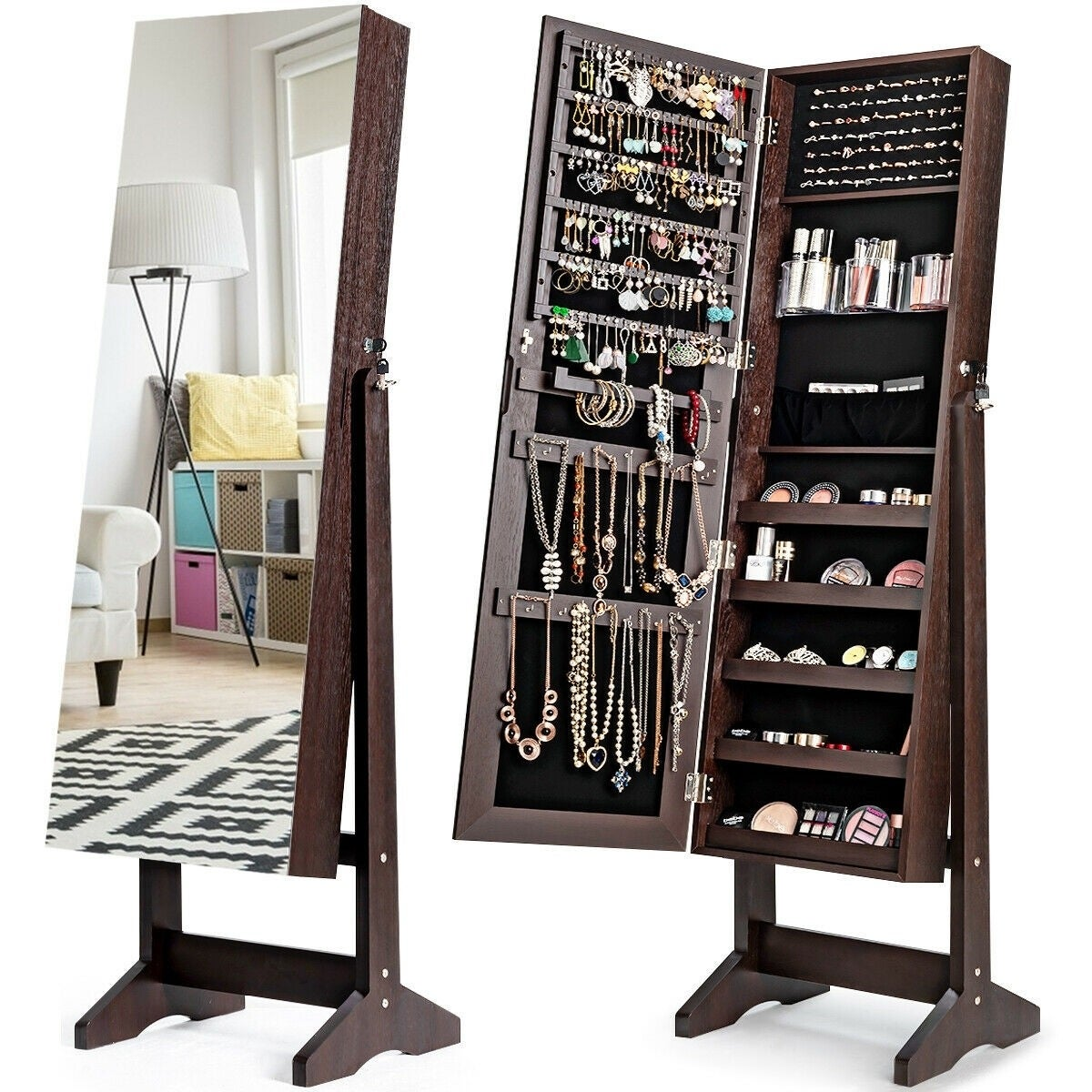 Image of: Shop Black Friday Deals On Standing Jewelry Armoire Cabinet With Full Length Mirror Overstock 32262283