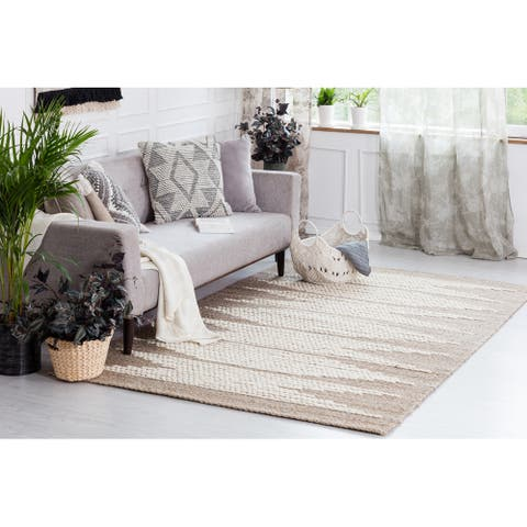 Marconi Natural with Ivory Wool Pattern Area Rug