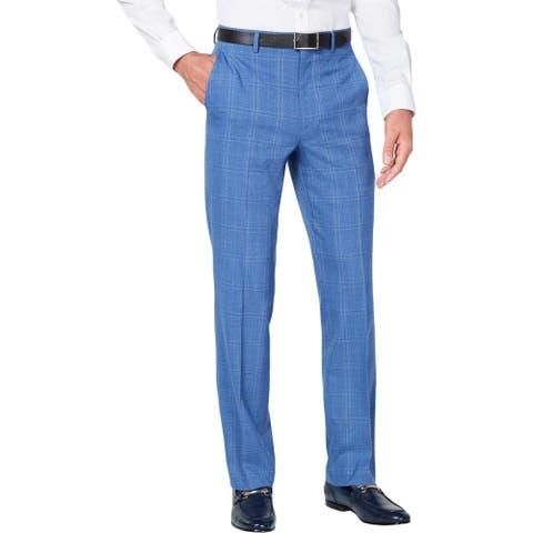 Sean John Mens Dress Pants Plaid Trouser - Blue