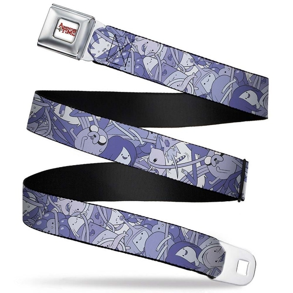 Adventure Time Logo White Full Color Jake Character Wrap Purples White Seatbelt Belt