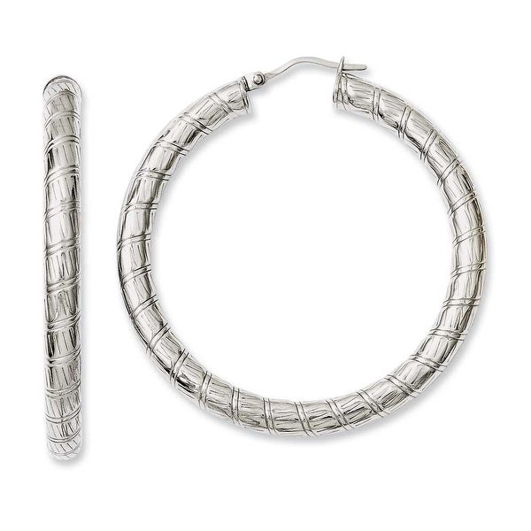 Chisel Stainless Steel Textured Hollow Hoop Earrings