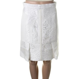 J. Mendel Womens Silk Blend Pieced A-Line Skirt - 4