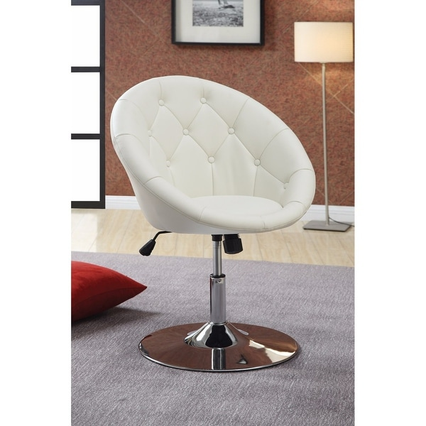 Modern Round Tufted White Swivel Accent Chair