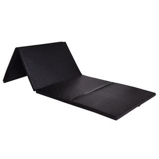 Costway 4'x8'x2' Gymnastics Mat Thick Folding Panel Exercise Mat Black