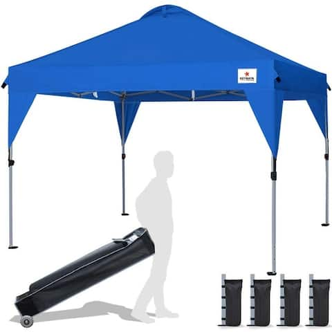 10 x 10ft Pop Up Canopy Event Tent Outdoor Party Tent 100 Square Feet Shade Large Tent, Bonus Wheeled Canopy Bag and 4 Sandbags