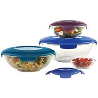 Snapware 8-Piece Mix-Serve-Store Glass Bowl Set With Lids