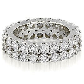 4.40 cttw. 14K White Gold Round Diamond Two Row Eternity Ring