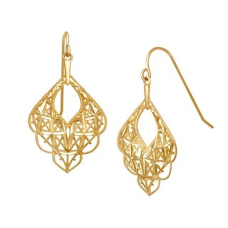 Just Gold Scalloped Mesh Drop Earrings in 10K Yellow Gold