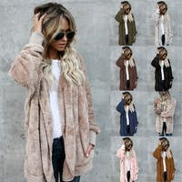 Hoodied Open Front Coat in Assorted Color