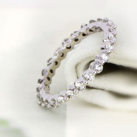 De Couer IGI Certified 14k Gold 1 1/2ct TDW Diamond Eternity Wedding Band