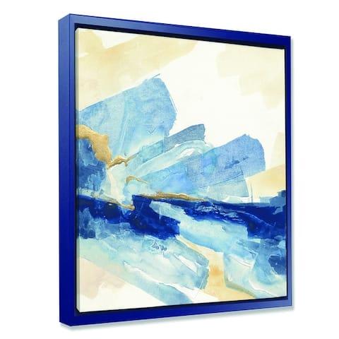 Designart 'Metallic Gold Indigo I' Modern Glam Framed Canvas - Blue