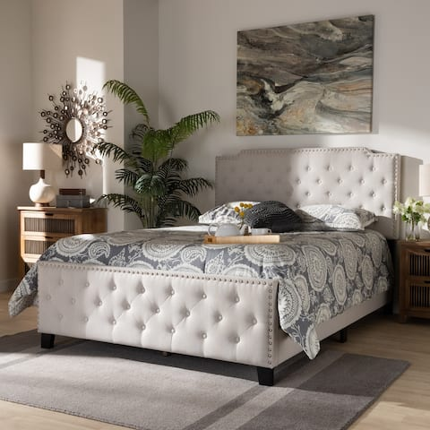 Marion Modern Transitional Beige Fabric Upholstered Button Tufted King Size Panel Bed