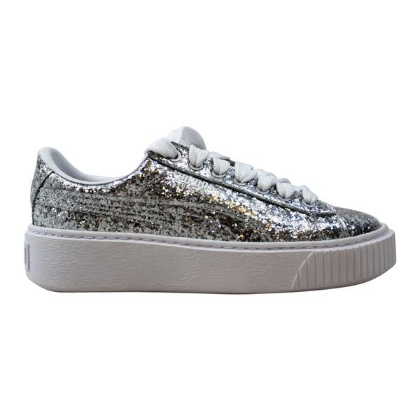 cheap for discount c2456 e510b Shop Puma Basket Platform Glitter Silver/Silver 364093 01 ...