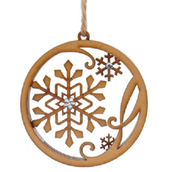 "4"" Urban Nature Natural Wood Stacked Circle with Snowflakes Accented with Gems Christmas Ornament"