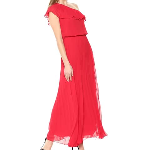 Xscape Red Pleated One Shoulder Ruffle Women's Size 4 Maxi Dress