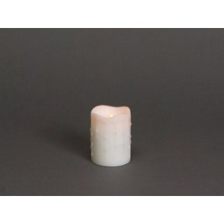 """4"""" Winter Frost White Flameless LED Dripping Wax Christmas Pillar Candle"""