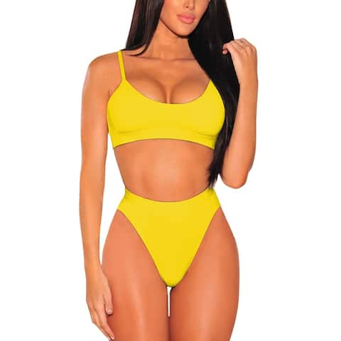 Pink Queen Women's High Cut High Waisted Cheeky Two Piece, Yellow, Size X-Large