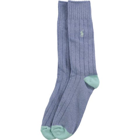 Ralph Lauren Mens Ribbed Embroidered Midweight Socks - 10-13