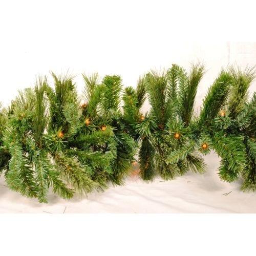 Christmas at Winterland WL-GARBM-09-LRE 9 Foot Pre-Lit Red LED Blended Pine Garland Indoor / Outdoor