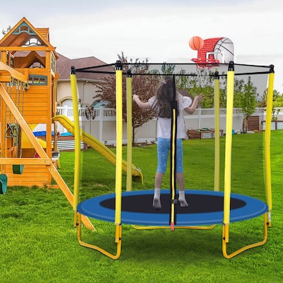 Nestfair Outdoor and Indoor Mini Toddler Trampoline Includes Enclosure, Basketball Hoop and Ball