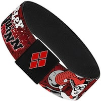 "Harley Quinn Poses Comic Book Scenes Reds Black Elastic Bracelet   1.0"" Wide"