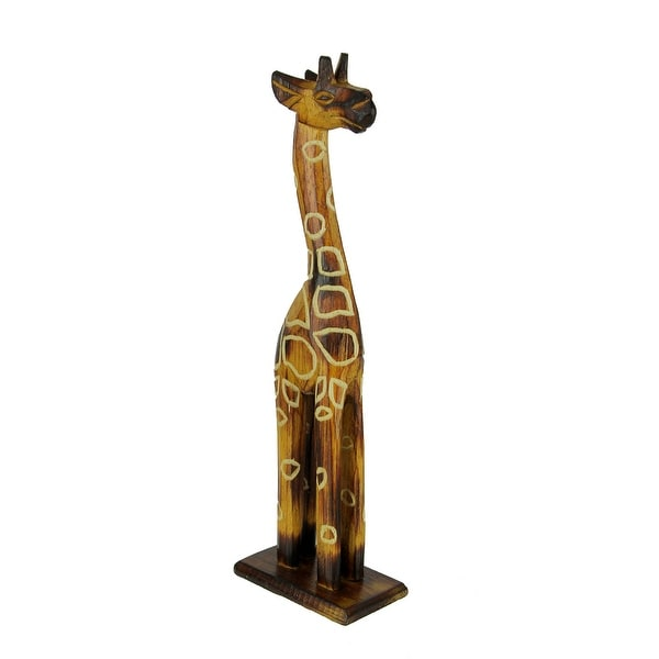 Hand Crafted Wood Burned Finish Standing Giraffe Statue - 12 X 3.5 X 2.25 inches