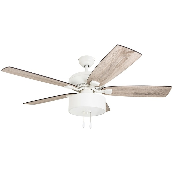 The Gray Barn Theobalds 52-inch Coastal Indoor LED Ceiling Fan with Pull Chains 5 Reversible Blades - 52. Opens flyout.