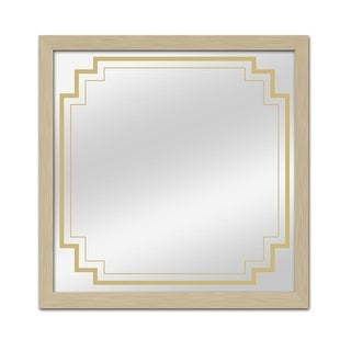 """PTM Images 5-11364 24-3/4"""" Square Framed Mirror with Art Deco Border - Champagne"""