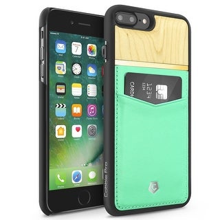 CobblePro Turquoise/ Brown Genuine Leather Bamboo wood with Wallet Flap Pouch For Apple iPhone 7 Plus