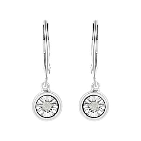 .925 Sterling Silver 1/10 cttw Bezel-Set Round-Cut Diamond Accent Dangle Earring (I-J Color, I3 Clarity)