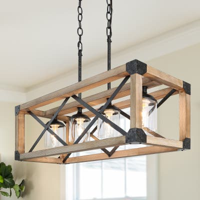 """Modern Farmhouse 4-light Chandelier Glass Kitchen Island Wood Cage Ceiling Light - Taupe - L27.5""""xW10""""xH80.5"""""""
