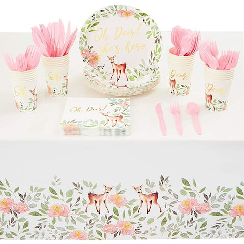 Serves 24 Oh Deer Party Supplies Baby Shower Plate Napkin Cutlery Tablecloth Set
