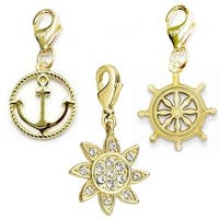 Julieta Jewelry Sun, Anchor, Wheel 14k Gold Over Sterling Silver Clip-On Charm Set