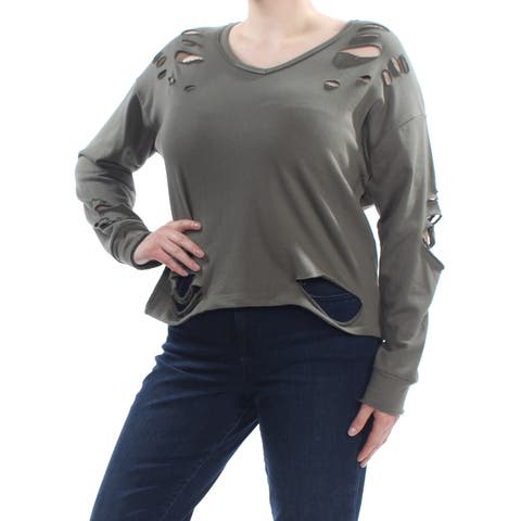 SAY WHAT? Womens Green Distressed Long Sleeve Scoop Neck Sweater Plus Size: 1X