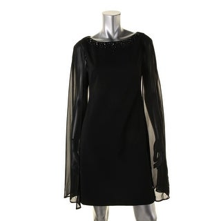 Adrianna Papell Womens Embellished Cape Sleeve Cocktail Dress