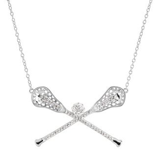 Crystaluxe Lacrosse Sticks Necklace with Swarovski Crystals in Sterling Silver - White