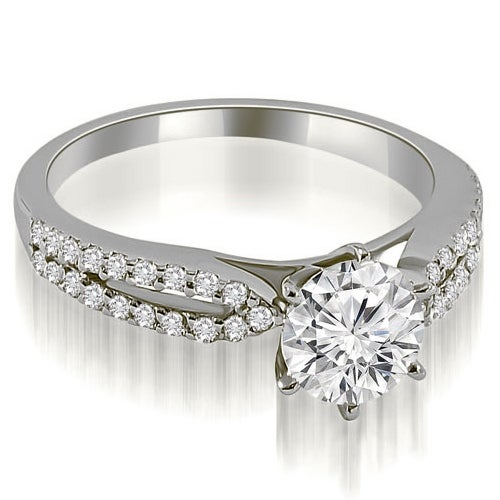 1.05 cttw. 14K White Gold Cathedral Split Shank Round Diamond Engagement Ring