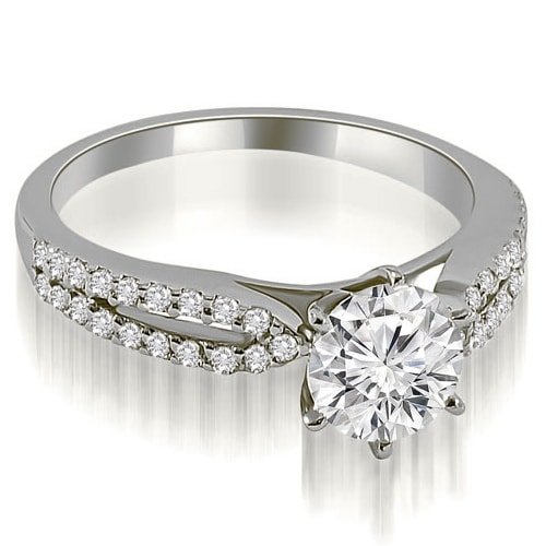 1.30 cttw. 14K White Gold Cathedral Split Shank Round Diamond Engagement Ring