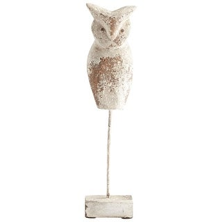 Cyan Design 08968S Scoops Owl Iron and Wood Owl Statue - Antique White - N/A